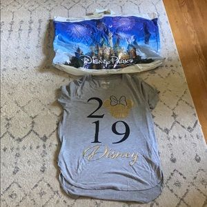 2019 Disney Shirt and WDW Parks Large Bag
